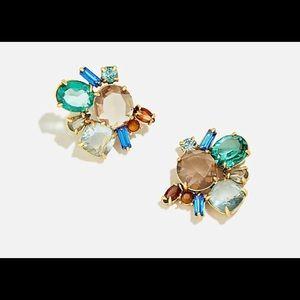 J. Crew-Crystal Cluster Earrings/Rusty Aubergine